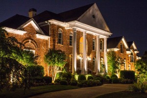 low voltage landscape lighting on Brentwood home