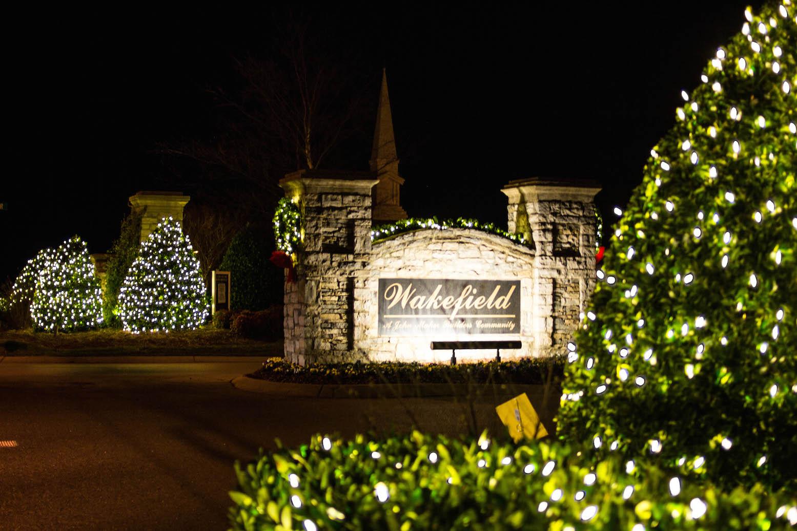 neighborhood entrance christmas lights and decorations
