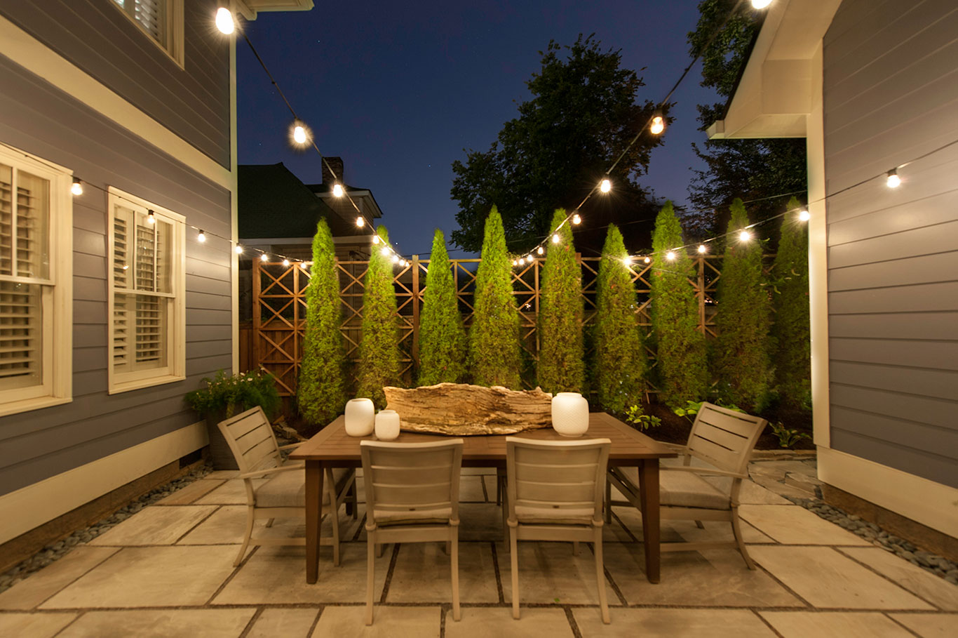 Custom string lights light up nashville design and for Exterior lighting design