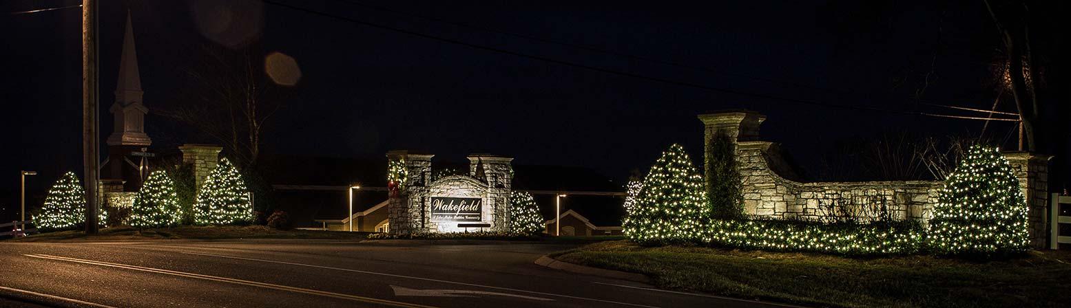 Neighborhood Entrance Holiday Lighting Service Light Up