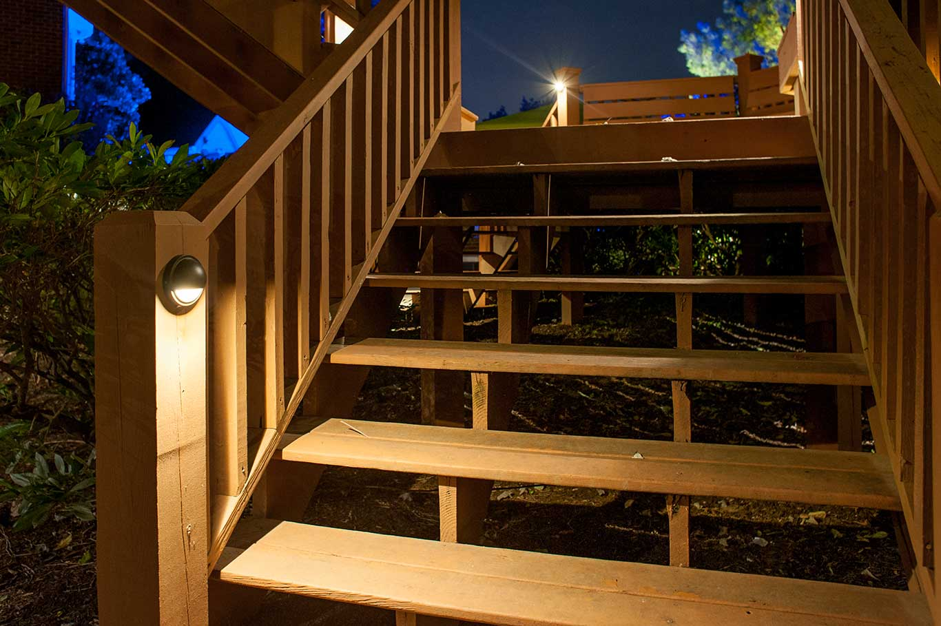 Deck step lighting democraciaejustica deck patio lighting experts light up nashville aloadofball Choice Image