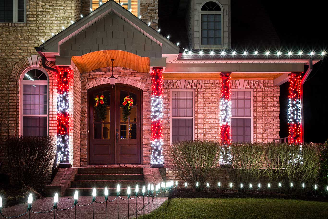 Candy Cane Columns Light Up Nashville