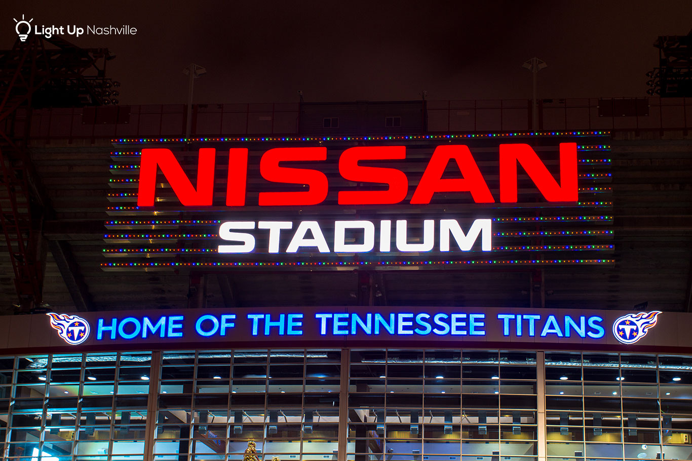 Holiday lights on Titans stadium sign