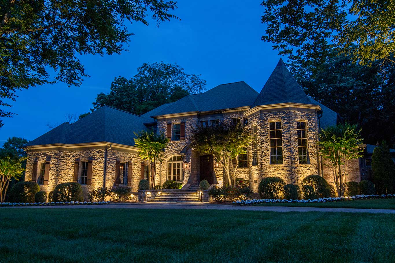Nashville home with outdoor lighting