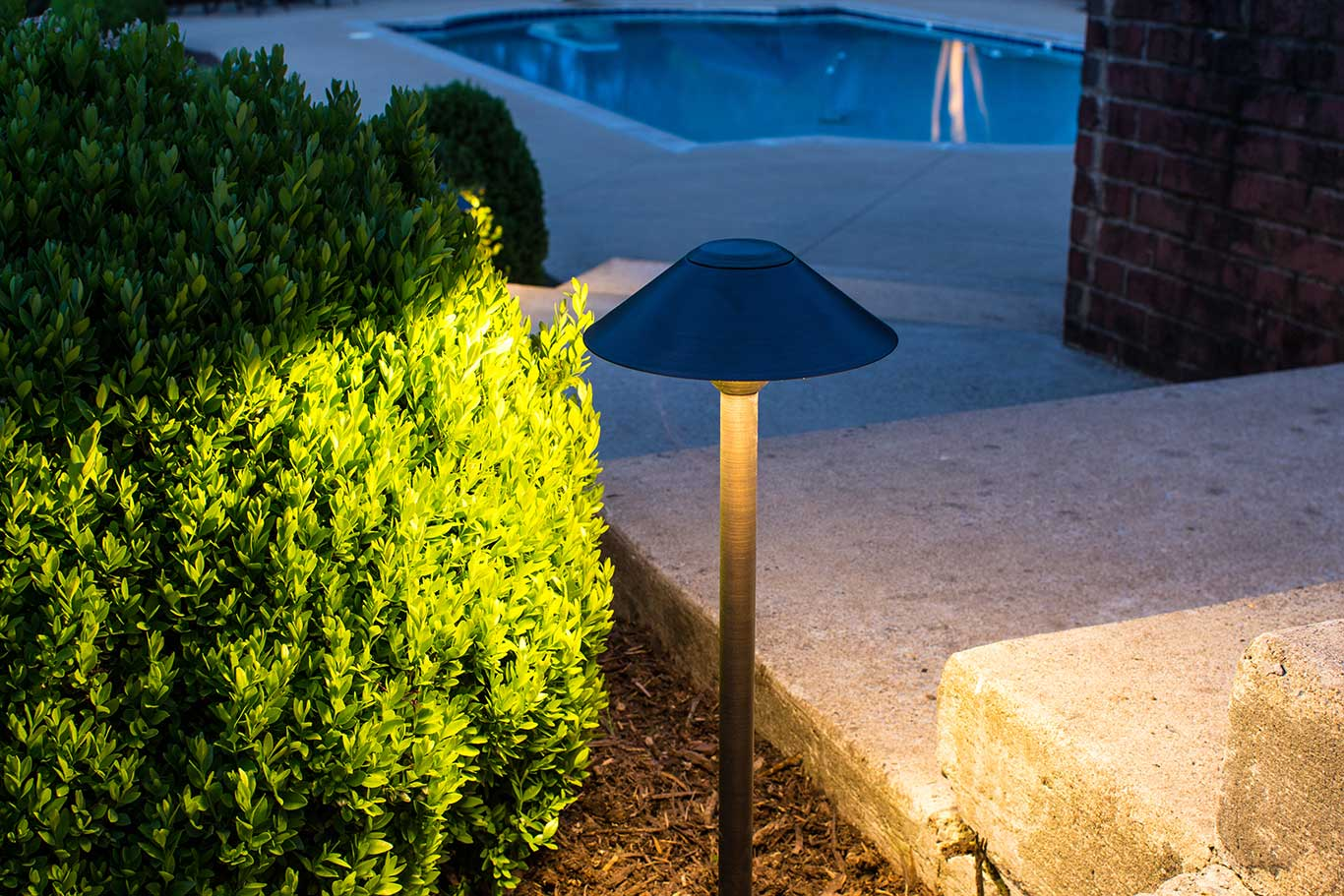 Path light in backyard with pool