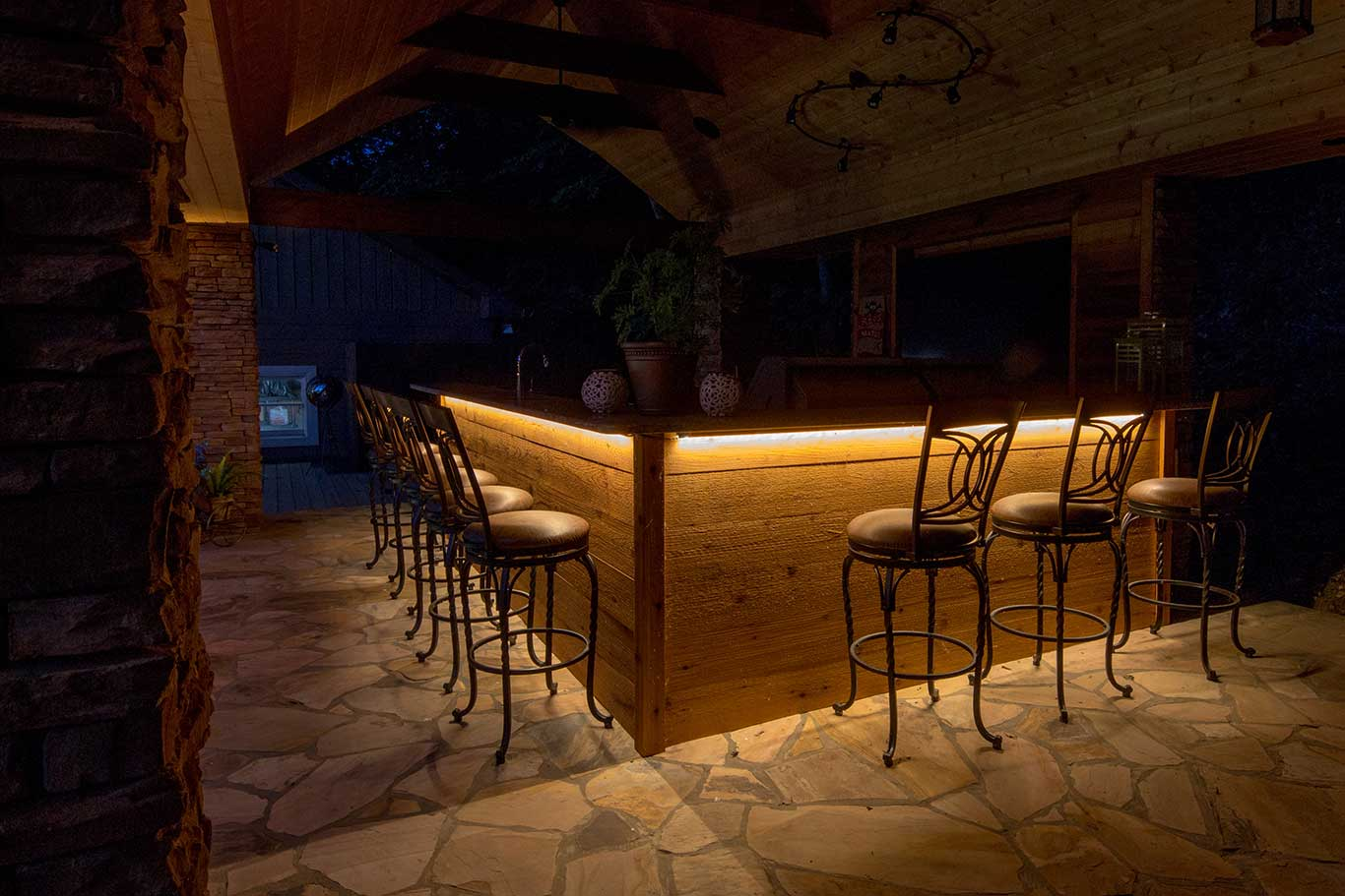 LED strip lighting under outdoor bar