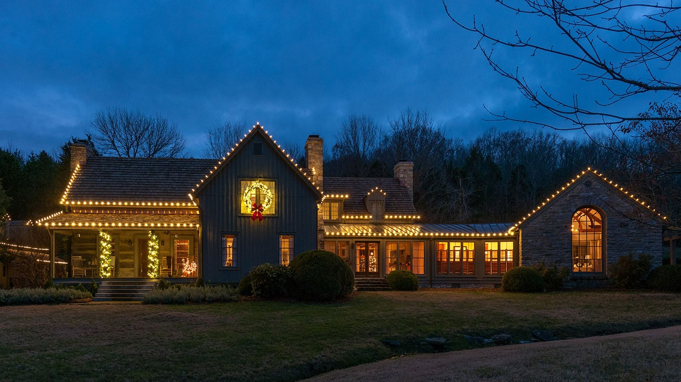 beautiful nashville home with custom Christmas lights and decor