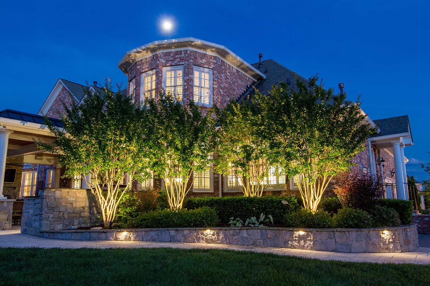 Landscape and hardscape lighting on home in Brentwood, TN