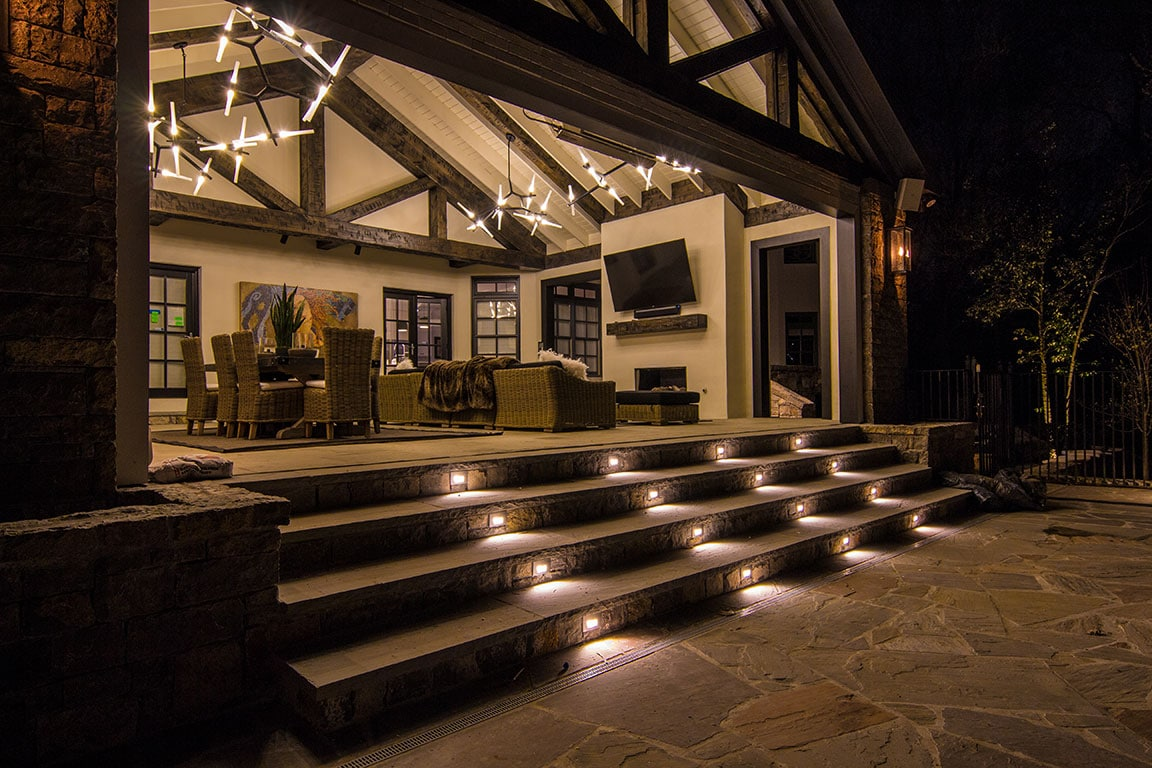 flush step lights on patio