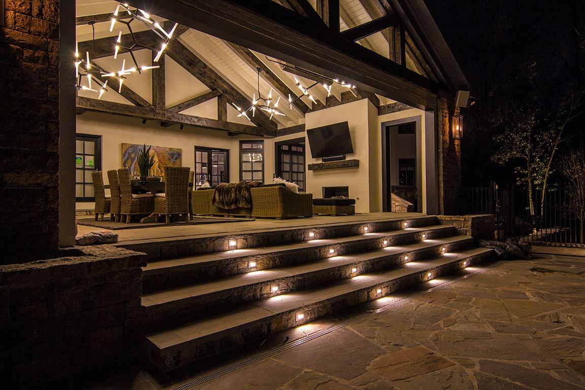 flush step lights on patio