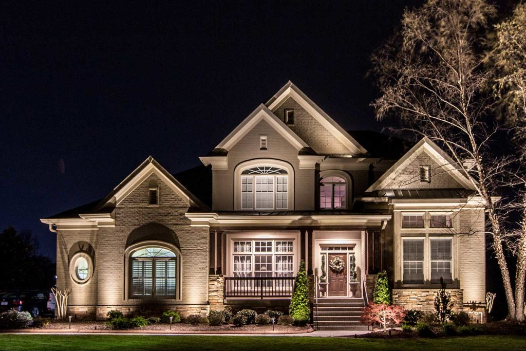 Front architectural lighting on home in Brentwood, TN