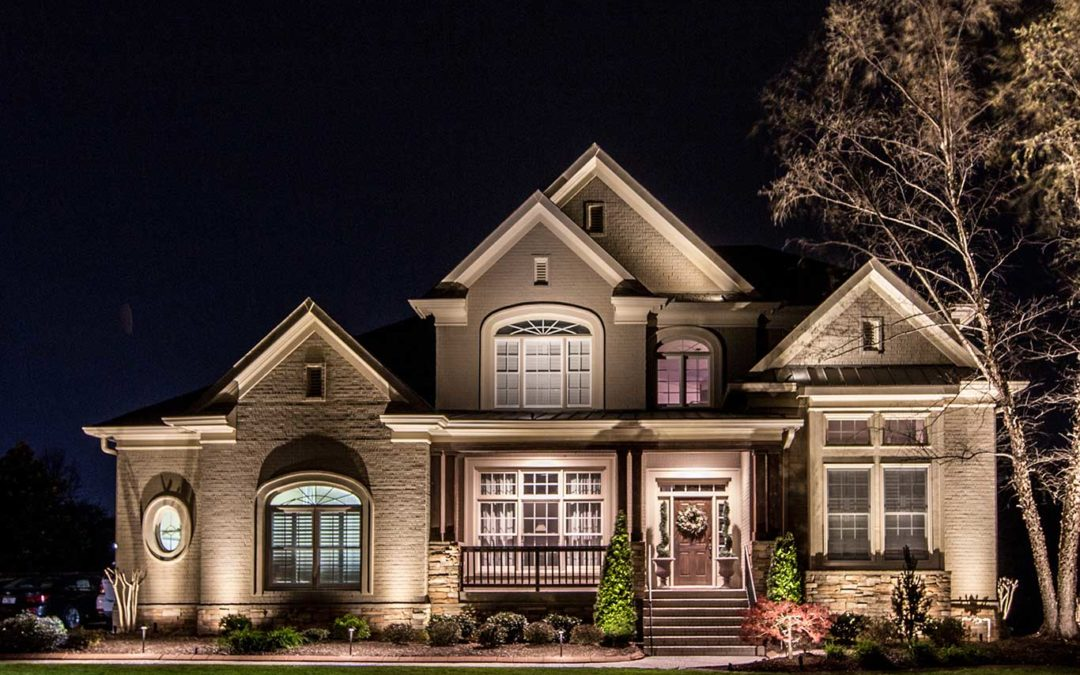 Front Architectural Lighting on Home in Brentwood