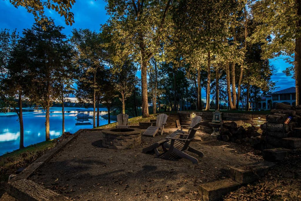 outdoor patio lighting with lakeview
