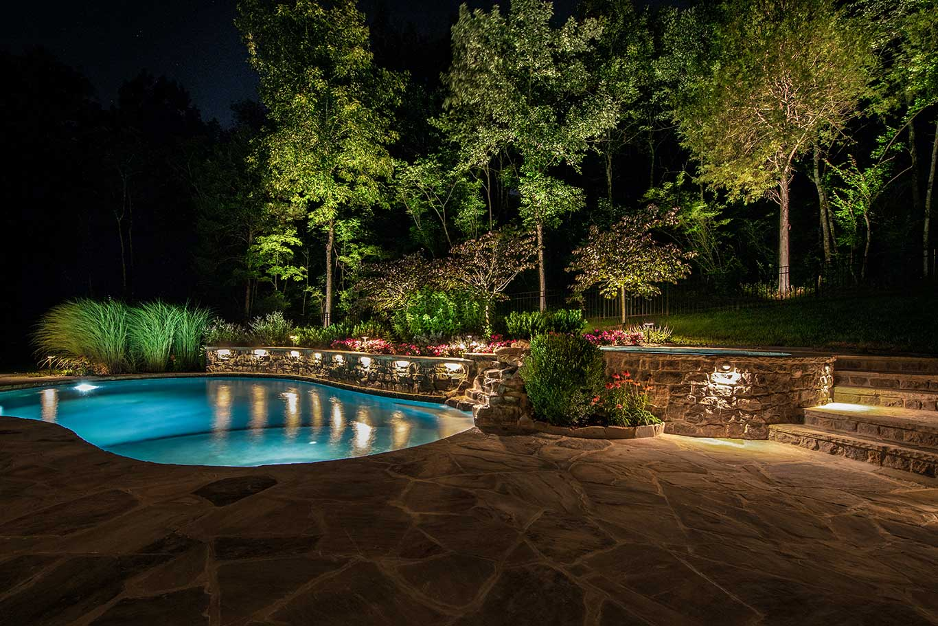 low volt lighting on pool patio