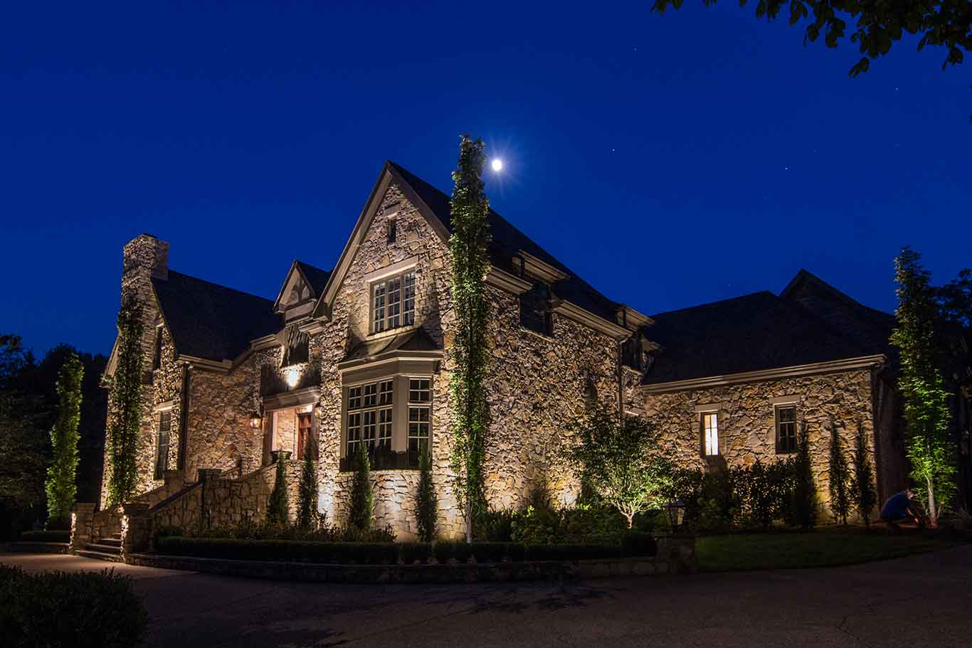 house lighting stone home