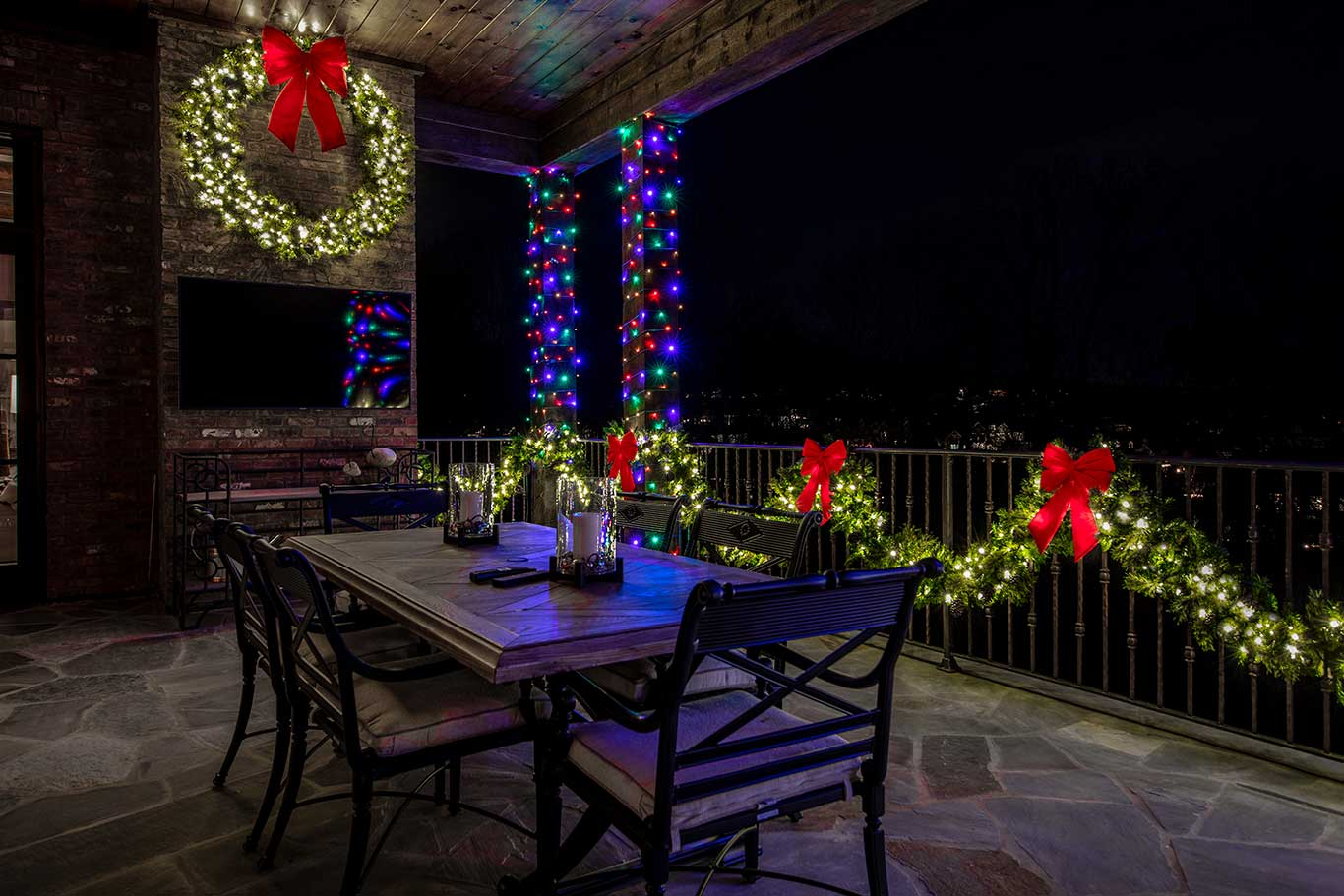 back patio with christmas decorations