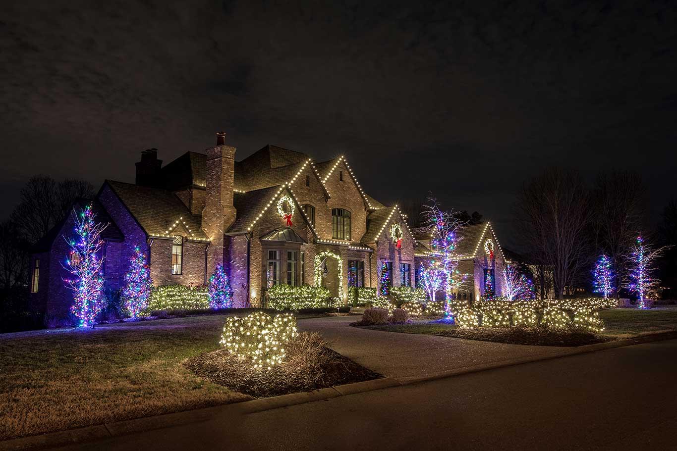 exterior Christmas lights on large home