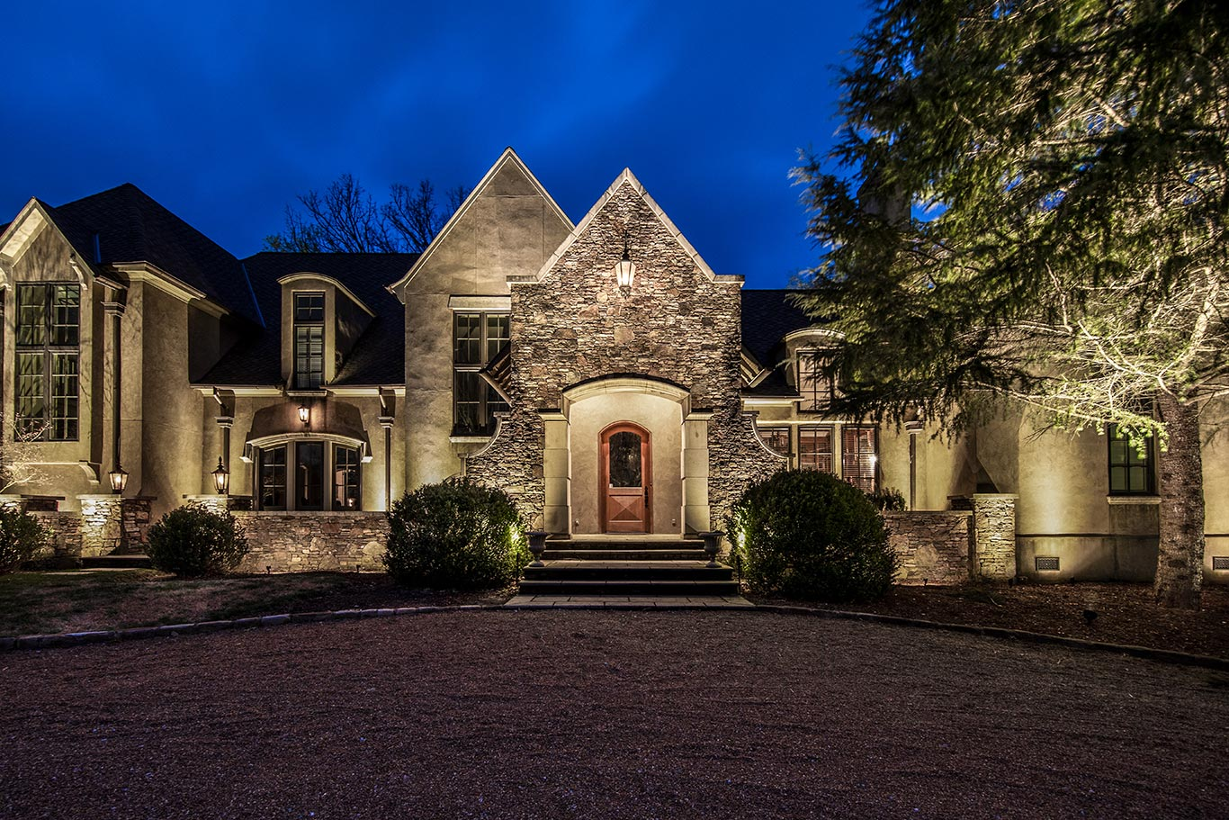 home with curb appeal at night