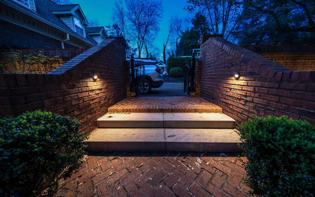 Outdoor Step Lighting with Wall Mounted Downlights
