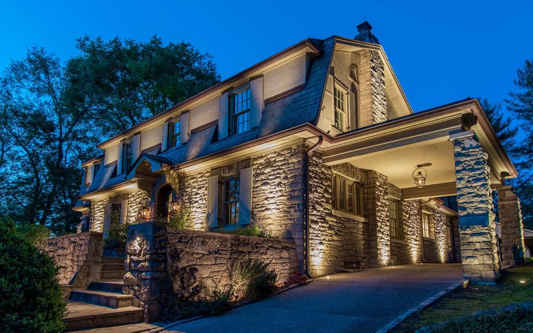 Stone Home Exterior Lighting in Belle Meade