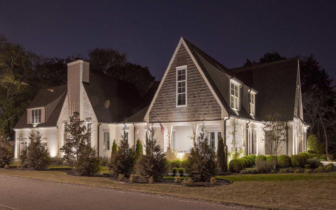 White Brick Home Low Voltage Exterior Lighting