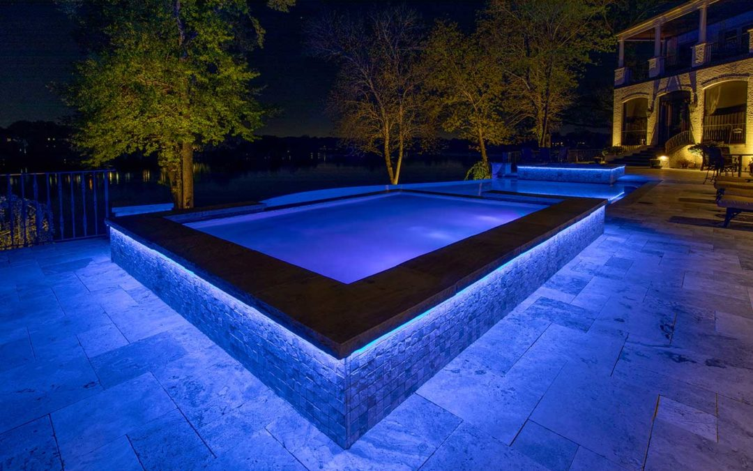 Blue Linear LED Strip Lighting on Pool Patio