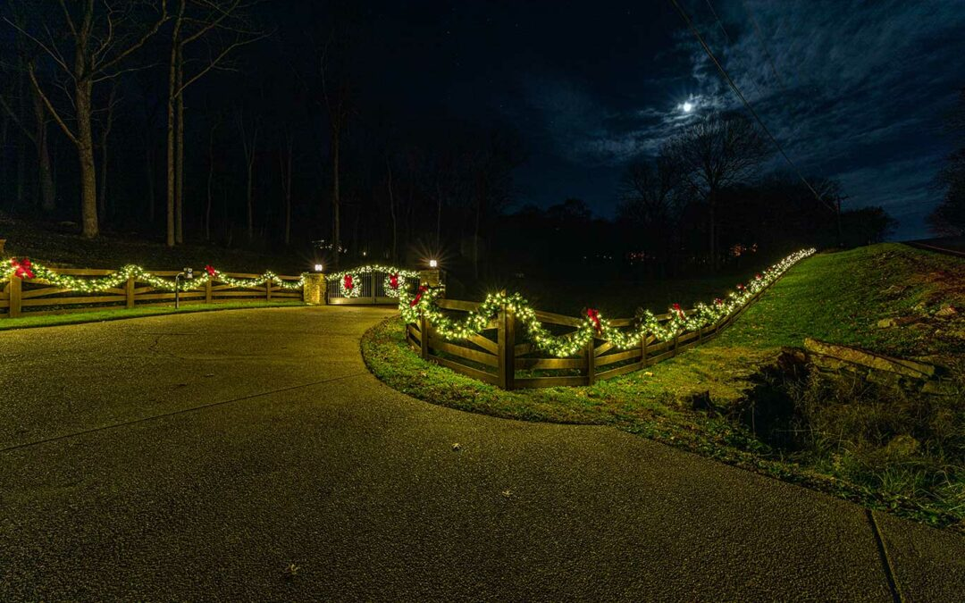 Christmas Greenery Along Fence