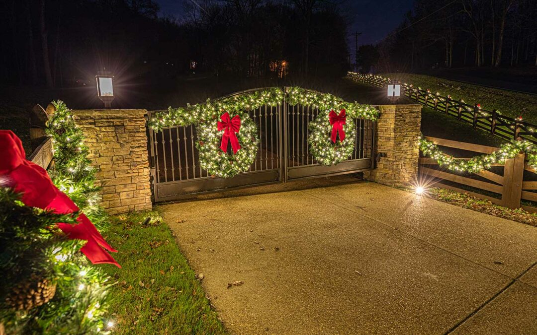 Holiday Lighting on Private Gate