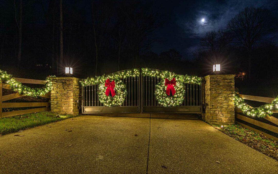 Christmas Lights on Entrance Gate
